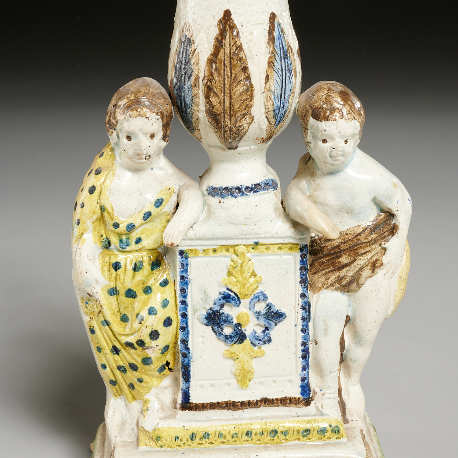 Lot 2315 - Pair early Prattware figural candlesticks