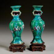 Pair Chinese fahua vases, ex C.T. Loo