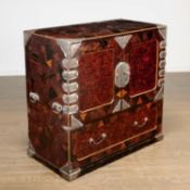 Rare Japanese silver mounted parquetry cabinet