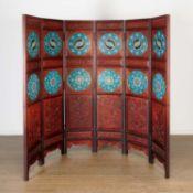 Chinese hardwood, cloisonne 6-panel screen