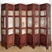 Chinese eight-panel mirrored hardwood screen