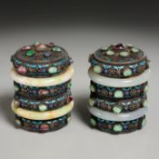 Pair Chinese jade mounted silver cloisonne boxes