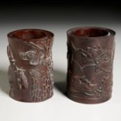 Near pair Chinese carved hardwood brush pots