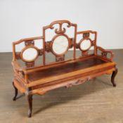 Antique Chinese marble set hardwood Taishi settee