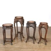 (4) Chinese carved hardwood, marble inset stands