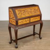 Chinese Export carved mixed wood secretaire