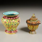 (2) Antique Royal Thai enameled copper jars