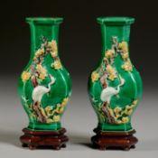 Pair Chinese sancai vases, ex C.T. Loo