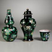 (3) Chinese famille noir porcelains