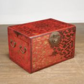 Large antique Chinese red lacquer trunk