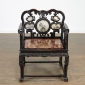 Chinese marble inlaid hardwood taishi armchair