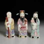(3) Chinese famille rose porcelain Immortals