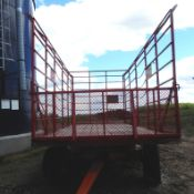 SCHUETTE 9x18' KICK BALE WAGON/implement tires (#1-5A) Selling choice.