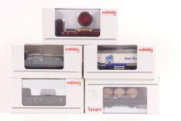 Märklin fünf Güterwagen 46744, 46157, 46037, 44182, 46077 ORK, sehr gut erhalten