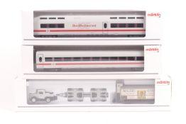 Märklin zwei ICE2 Wagen, 43723, ein Boardrestaurant Wagen 43733, ein Güterwagen mit Schwerlast LK