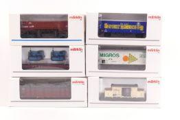 Märklin sechs Güterwagen 46159, 48450, 46074, 48150, 46363, 46904, ORK, sehr gut erhalten
