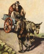 William Conor RHA RUA ROI (1881-1968) The Donkey - Cart (1923) oil on canvas signed lower right,