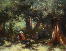George William Russell (AE) (1867-1935) Children in the Woods oil on canvas signed with monogram