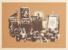 Banksy (1974) Morons (Sepia), 2007 screenprint in colours on Somerset wove paper - number 88 from