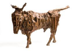 John Behan RHA (b.1938) West Bull (2019) unique bronze signed and dated 2019 40½ x 58 x 28cm (15.9 x