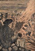 Jack Butler Yeats RHA (1871-1957) St. John's Eve Bonfire Night pen, ink and watercolour signed lower
