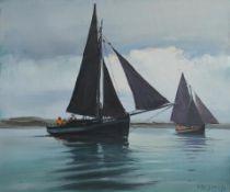 Cecil Maguire RHA RUA (1930-2020) The Connacht, Roundstone Regatta (1986) oil on board signed