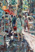 Arthur K. Maderson (b.1942) Market Day, Andure, France oil on board signed lower left and titled