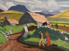 Harry Aaron Kernoff RHA (1900-1974) The Twelve Pins, Renvyle, Connemara oil on board signed lower