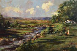 George K. Gillespie RUA (1924-1996) The Picnic Near Castlederg, Co. Tyrone oil on board signed lower