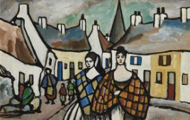 Markey Robinson (1918-1999) Shawlies in the Village (c.1960) gouache on board signed lower right