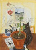 Pauline Bewick RHA (b.1935) Cat and Geranium (1980) watercolour signed lower left and dated 1980