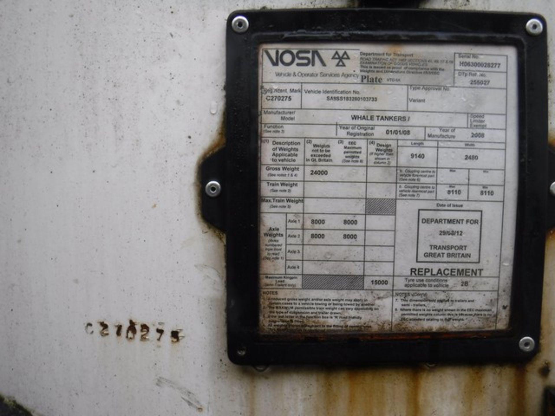 Lot 1605 - TANKER TRAILER 18000 LTR MAN 2008 Twin Axle - WHALE BOWSER ASSET NO. - C270275