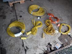 VARIOUS EXTENSION CABLES, 2x3 PRONG CONNECTORS AND 1 SOCKET EXTENSION
