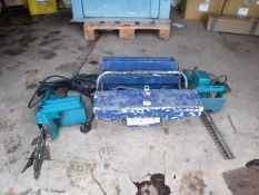 TOOLBOX C/W VARIOUS SPANNERS, HEDGE TRIMMER AND ELECTRIC CHAINSAW