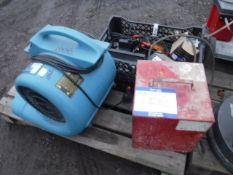 ELELTRIC HEATER, SAHARA PRO TURBO DRYER AND BOX OF MISC LIGHTS