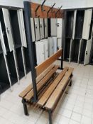 Wood and metal gym bench with clothing pegs