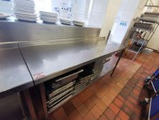 Excel Stainless steel kitchen worktop with drawer 6ft