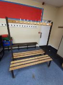 Wood and metal gym bench with clothing pegs (Need new pegs)