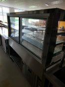 Sandwhich Bar 6ft White (Glass shelvs, Rear glass sliding door)
