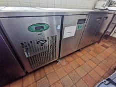 Foster Stainless steel kitchen worktop with built in fridge freezer