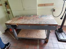 Vintage wooden project bench with vices