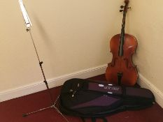 Cello and travel bag (needs restringing)