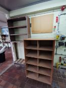 Asorted wood and mental shelving