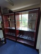 2x Double wooden display cabinets