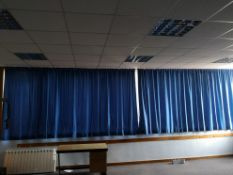 Pair of blue curtains approx 3.3m x 1.8m