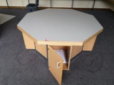 Large octagon wooden table with storage