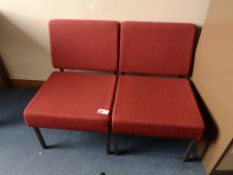 2x Red upholstered lounge chairs