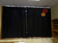 Pair of black curtains aprox 2m by 1.8m x2