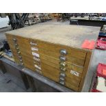 Wood Cabinet w/ Misc. Electrical Parts