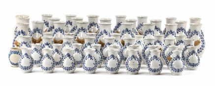 A COLLECTION OF 55 BLUE AND WHITE FAYENCE PHARMACY JARS, Nuremberg, middle of 18th century. Blue
